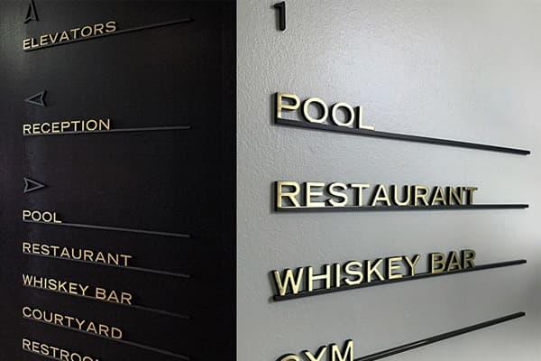 Hotel wayfinding signs made in Turkey
