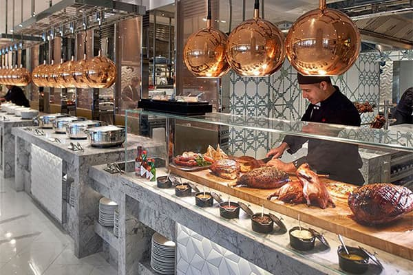 Hotel buffet restaurant carving station