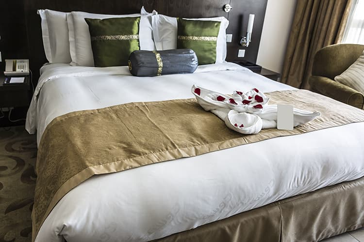 Hotel room bed coverlets made in turkey